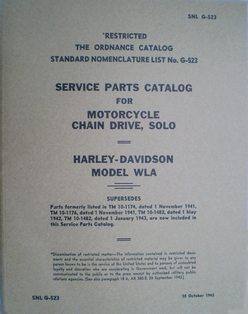 1600541  Parts catalog 1940 to 1943 WLA military models